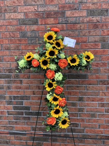 Cross with Silk Flowers
