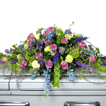 Lavender, Blue And Green Casket Spray