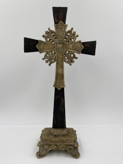 "18"" Wooden Cross Black with Gold Accents"